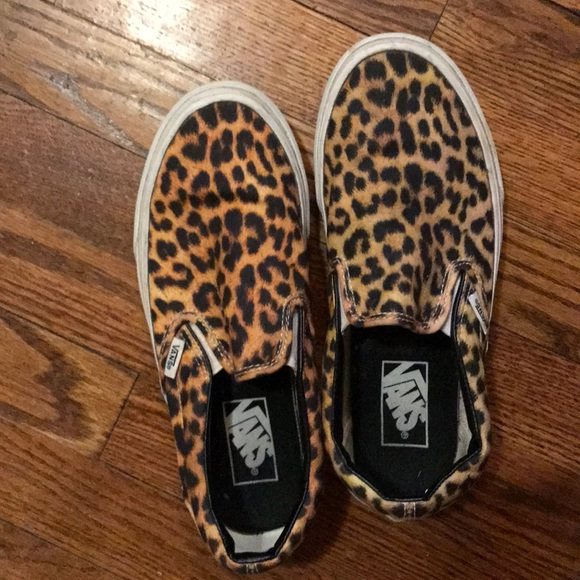 3657d19e130e Cheetah print slip on Vans!! Size 7.5. M_5a74b5dea825a63be54f61f5